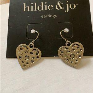 3/$10 NWT silver black heart earrings